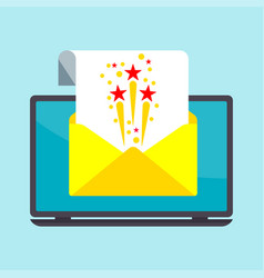 email on laptop screen vector image vector image