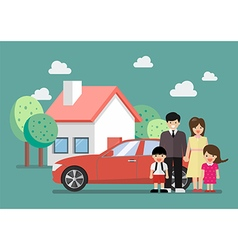 Happy family standing against car and house vector image