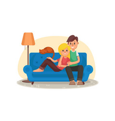 home cinema home room with tv screen vector image