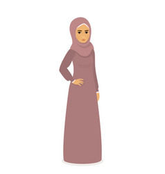Muslim beautiful girl woman in hijab - full-length vector