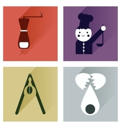 Set flat icons with long shadow chefs tools vector image vector image