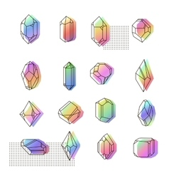 Set of non-linear crystals vector image