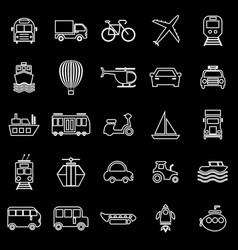 transportation line icons on black background vector image