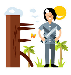 wing chun kung fu girl with two swords vector image vector image