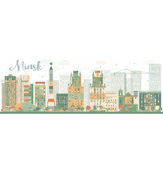 Abstract Minsk skyline with color buildings vector image vector image