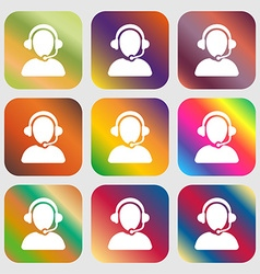 Customer support icon sign Nine buttons with vector image