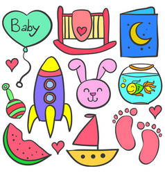 doodle of baby with cute element vector image vector image
