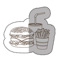 figure hamburger soda and fries french icon vector image vector image