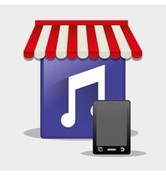 mobile music online shop smartphone button vector image