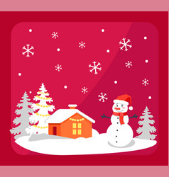 smiling snowman and house vector image vector image