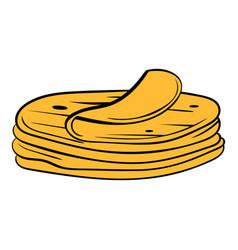 stack of tortillas icon cartoon vector image