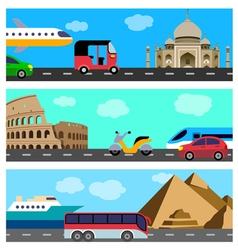 Transport travel horizontal banners vector