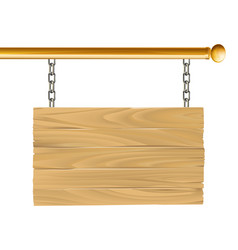 wood suspended sign vector image
