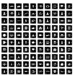 100 startup icons set grunge style vector image