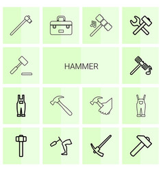 14 hammer icons vector