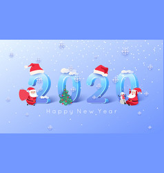 2020 merry christmas and happy new year background vector image