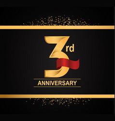 3 years anniversary logotype with premium gold vector