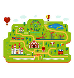 amusement park map funfair carnival rides plan vector image