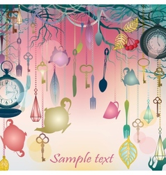 Antique colorful background with tea party theme vector image