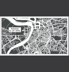 Antwerp city map in retro style outline map vector