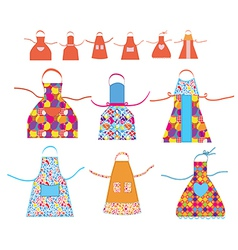 Aprons cooking set with patterns vector image