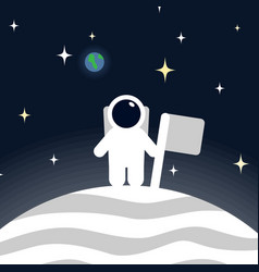 astronaut stands on the planet with a flag - isola vector image