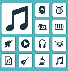 audio icons set collection of instrument barrel vector image