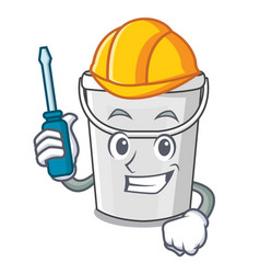 Automotive plastic tube bucket in mascot vector