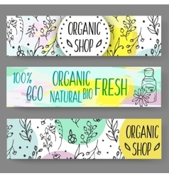 Banners with cosmetic bottles Organic cosmetics vector image