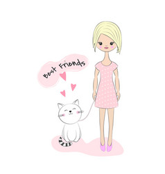 beautiful little girl and cat vector image