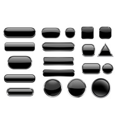 black glass buttons collection of 3d icons with vector image