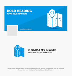 Blue business logo template for map camping plan vector