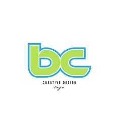 Blue green alphabet letter bc b c logo icon design vector
