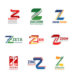 business identity icons with letter z vector image
