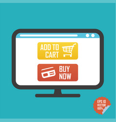 buy now and add to cart buttons on screen flat vector image