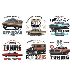 car service and tuning icons with retro vehicles vector image