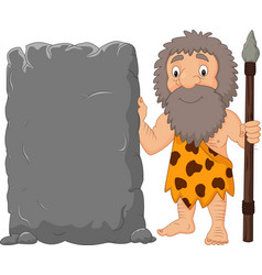 Cartoon caveman holding stone sign vector