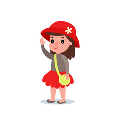 Cartoon girl character in stylish red hat with vector