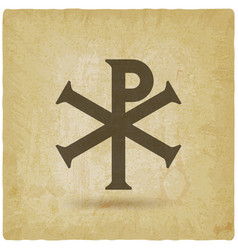 chi rho christian symbol vintage background vector image