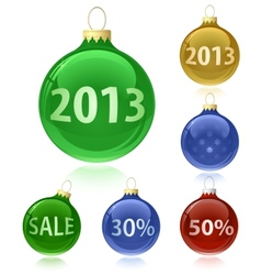 Christmas balls with sale tags - 2013 vector image