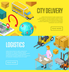 City delivery and warehouse logistics posters vector