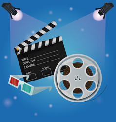 Color background spotlights with film reel vector