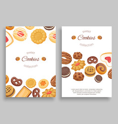 cookies banners set different chocolate and vector image