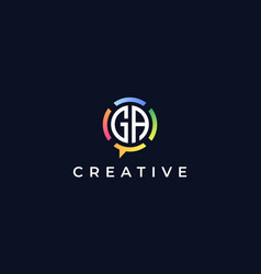 Creative chat initial letters ga logo vector