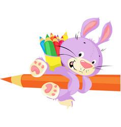 cute bunny hold crayon - funny cartoon vector image