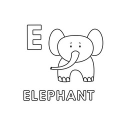 cute cartoon animals alphabet elephant vector image