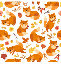 cute fox pattern orange foxes print awesome wild vector image