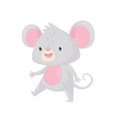 Cute mouse walking with happy face funny gray vector