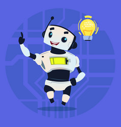 cute robot happy smiling having new idea modern vector image