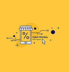 cyber monday linear minimalistic for vector image